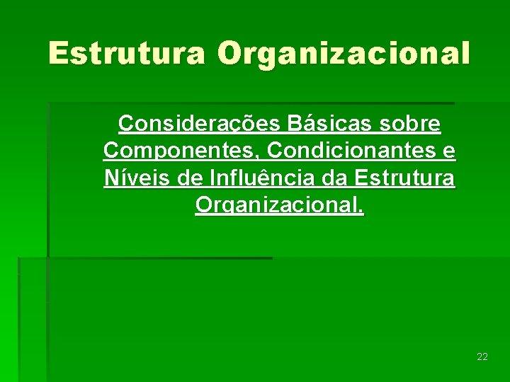 Estrutura Organizacional Considerações Básicas sobre Componentes, Condicionantes e Níveis de Influência da Estrutura Organizacional.