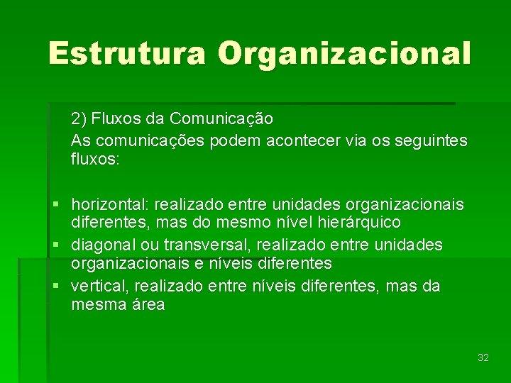 Estrutura Organizacional 2) Fluxos da Comunicação As comunicações podem acontecer via os seguintes fluxos: