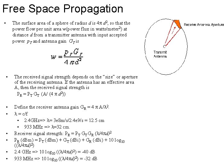 Free Space Propagation • The surface area of a sphere of radius d is