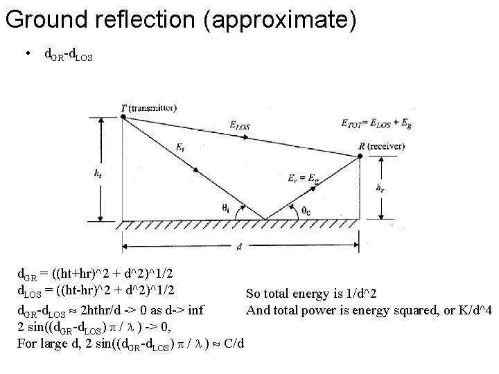 Ground reflection (approximate) • d. GR-d. LOS d. GR = ((ht+hr)^2 + d^2)^1/2 d.