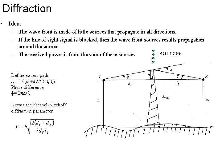 Diffraction • Idea: – The wave front is made of little sources that propagate