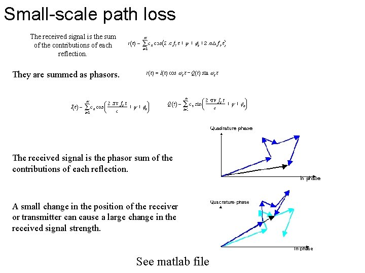 Small-scale path loss The received signal is the sum of the contributions of each