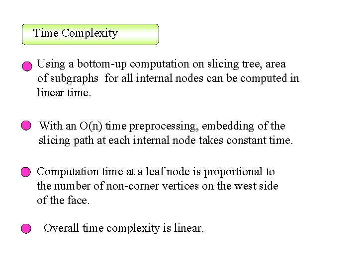 Time Complexity Using a bottom-up computation on slicing tree, area of subgraphs for all