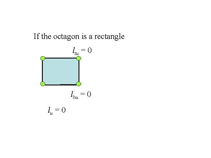 If the octagon is a rectangle ltu = 0 lbu = 0 lu =