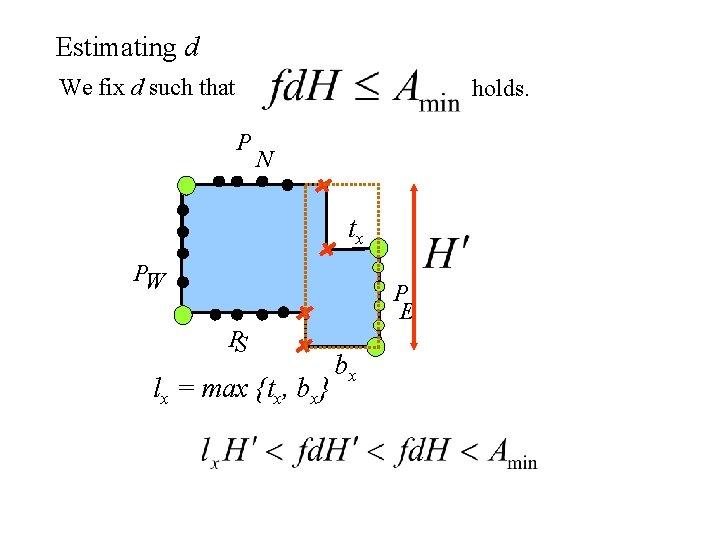 Estimating d We fix d such that holds. P N tx PW P E