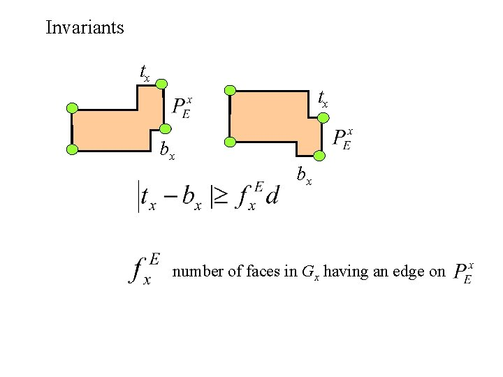 Invariants tx tx bx bx number of faces in Gx having an edge on