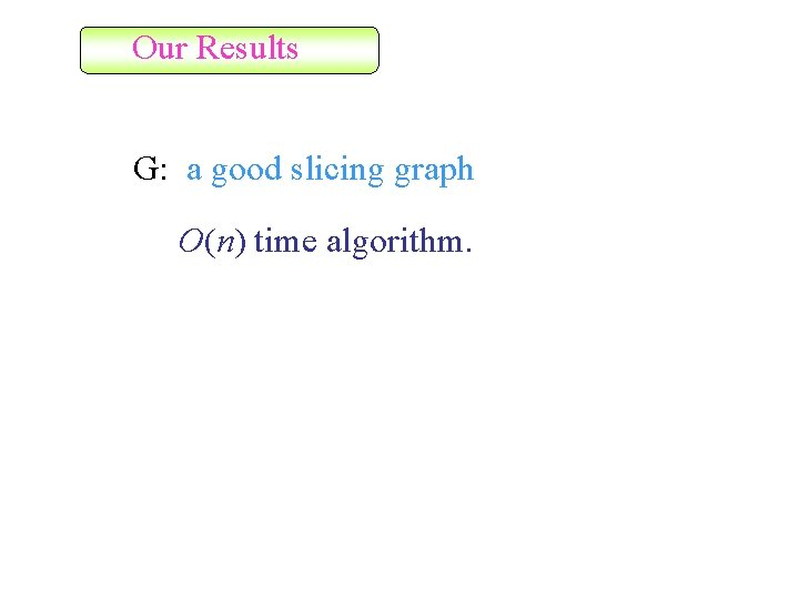 Our Results G: a good slicing graph O(n) time algorithm.