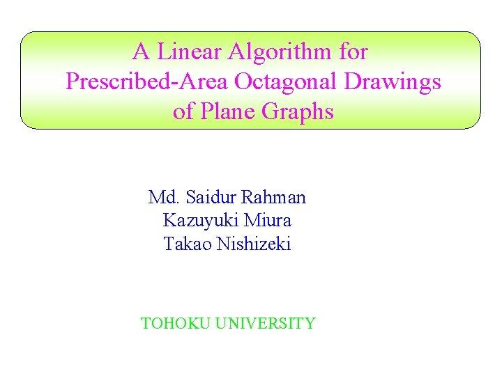 A Linear Algorithm for Prescribed-Area Octagonal Drawings of Plane Graphs Md. Saidur Rahman Kazuyuki