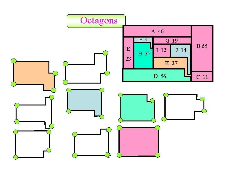Octagons A 46 F 8 E 23 H 37 G 19 I 12 J