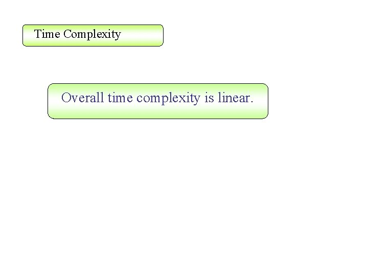Time Complexity Overall time complexity is linear.
