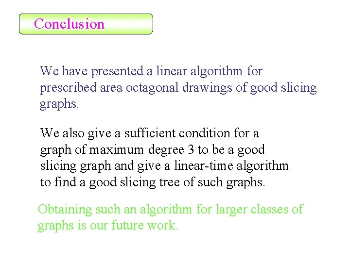 Conclusion We have presented a linear algorithm for prescribed area octagonal drawings of good