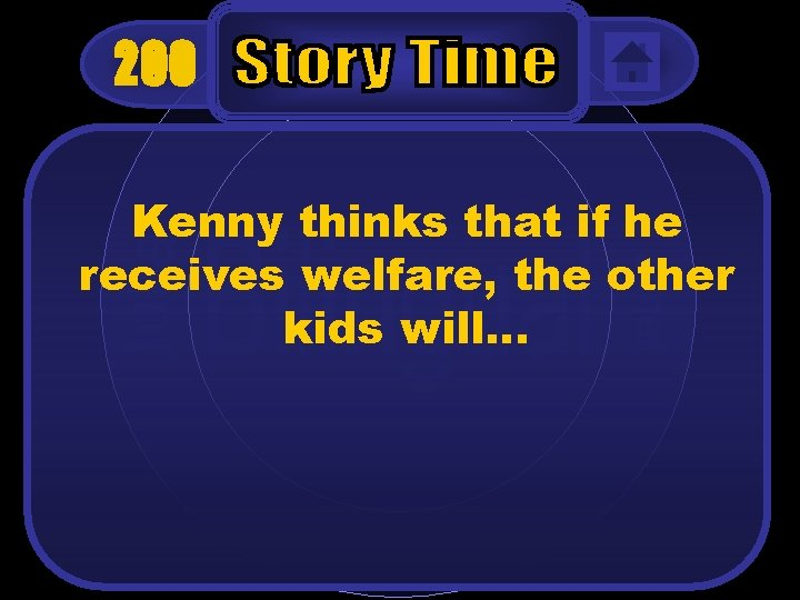200 Kenny thinks that if he receives welfare, the other kids will…