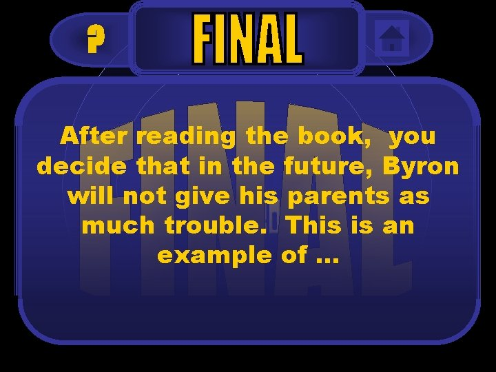 ? After reading the book, you decide that in the future, Byron will not