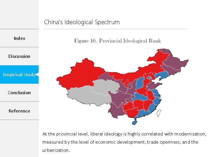 China's Ideological Spectrum Index Discussion Empirical Study Conclusion Reference At the provincial level, liberal