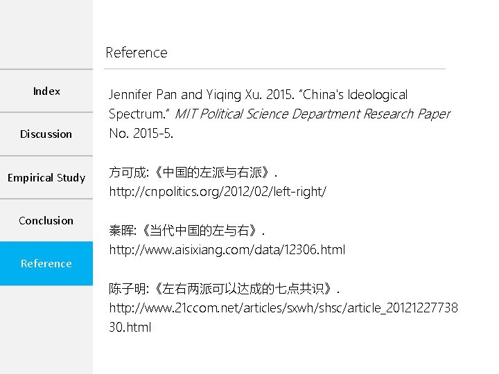 """Reference Index Jennifer Pan and Yiqing Xu. 2015. """"China's Ideological Spectrum. """" MIT Political"""