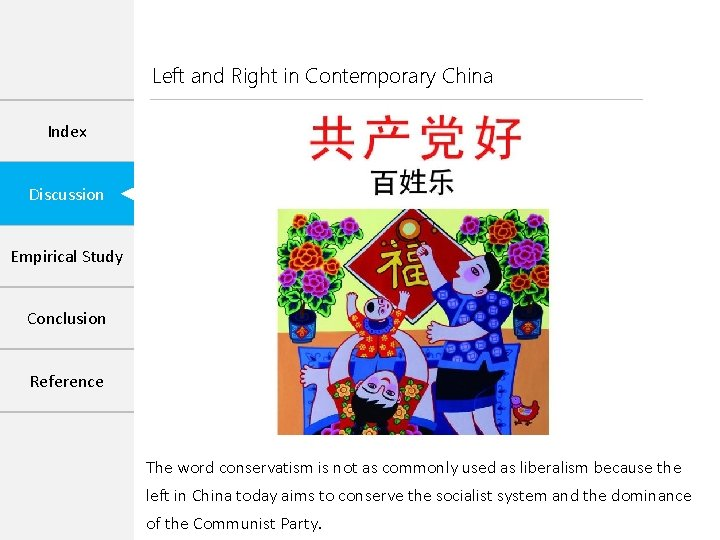 Left and Right in Contemporary China Index Discussion Empirical Study Conclusion Reference The word