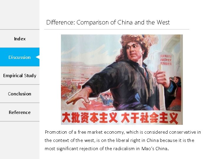 Difference: Comparison of China and the West Index Discussion Empirical Study Conclusion Reference Promotion