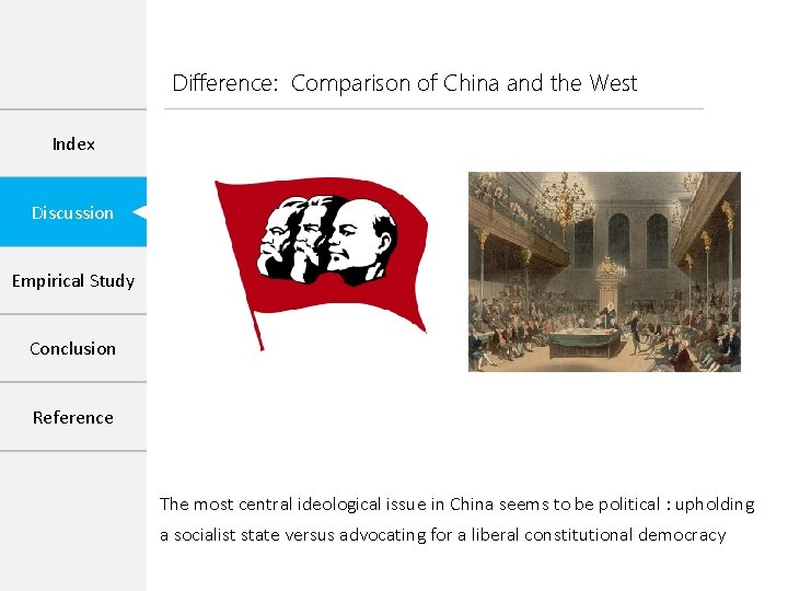 Difference: Comparison of China and the West Index Discussion Empirical Study Conclusion Reference The