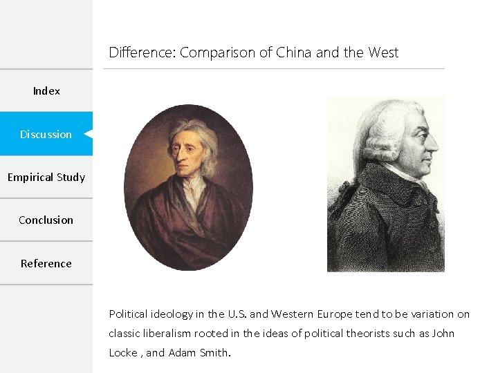 Difference: Comparison of China and the West Index Discussion Empirical Study Conclusion Reference Political