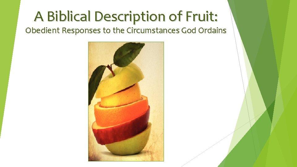 A Biblical Description of Fruit: Obedient Responses to the Circumstances God Ordains