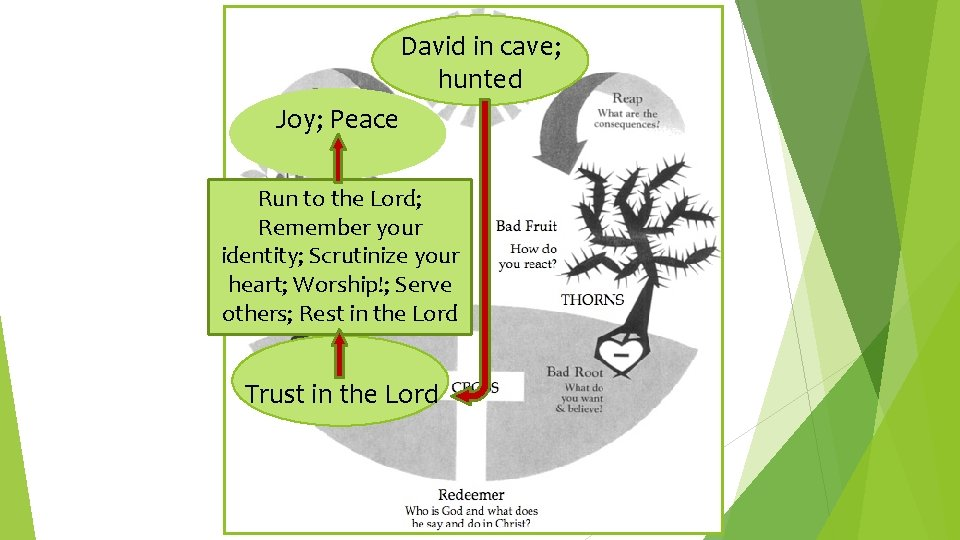 David in cave; hunted Joy; Peace Run to the Lord; Remember your identity; Scrutinize
