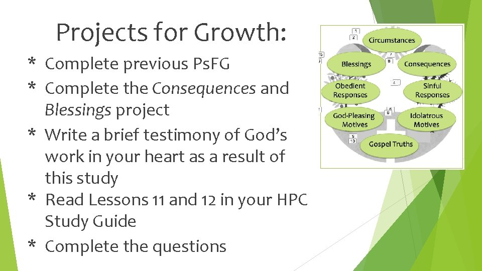 Projects for Growth: * Complete previous Ps. FG * Complete the Consequences and Blessings