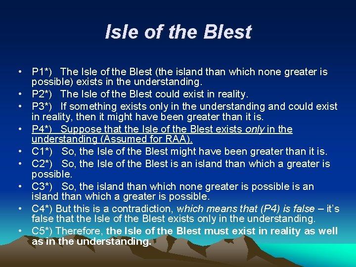 Isle of the Blest • P 1*) The Isle of the Blest (the island