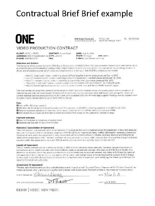 Contractual Brief example