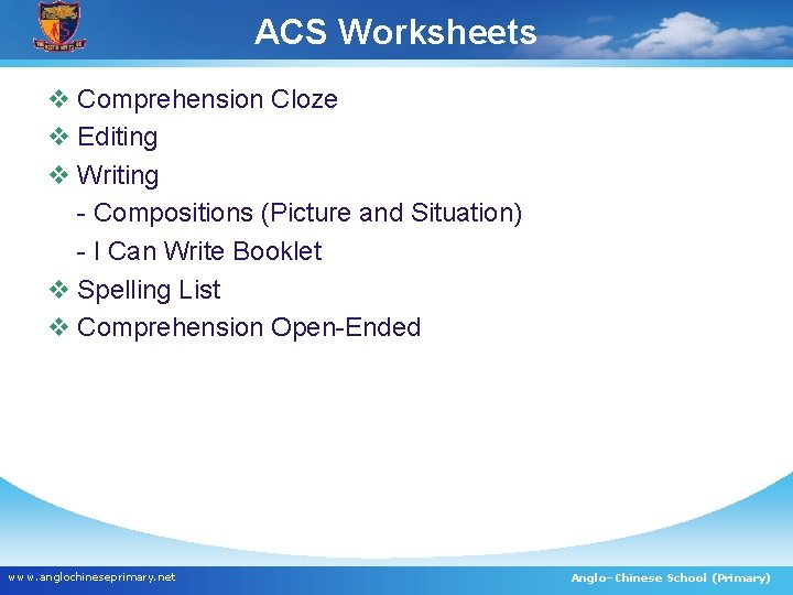ACS Worksheets v Comprehension Cloze v Editing v Writing - Compositions (Picture and Situation)