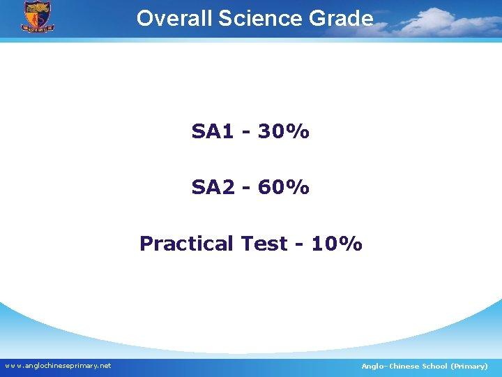 Overall Science Grade SA 1 - 30% SA 2 - 60% Practical Test -