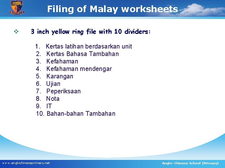 Filing of Malay worksheets v 3 inch yellow ring file with 10 dividers: 1.