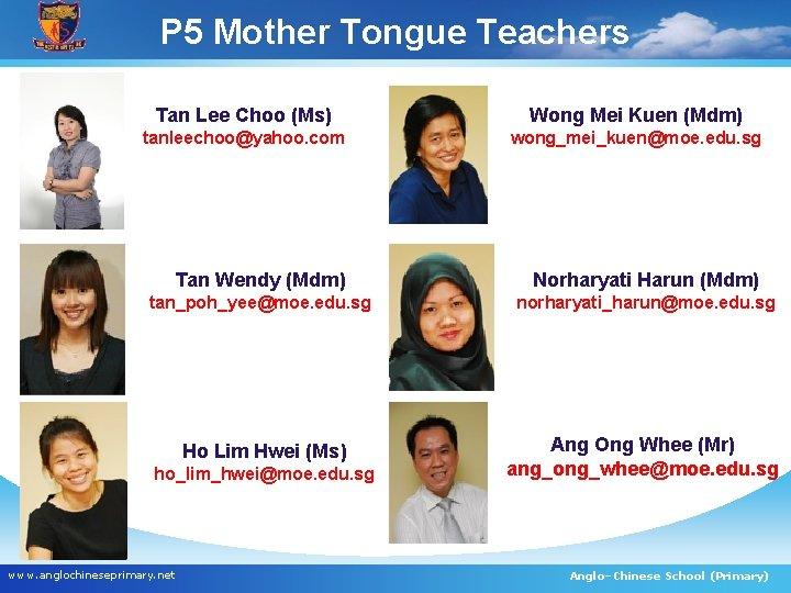 P 5 Mother Tongue Teachers Tan Lee Choo (Ms) Wong Mei Kuen (Mdm) tanleechoo@yahoo.