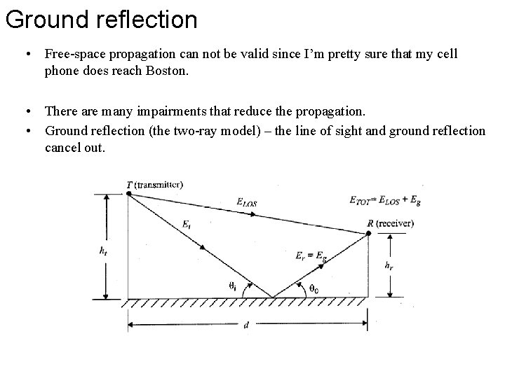 Ground reflection • Free-space propagation can not be valid since I'm pretty sure that