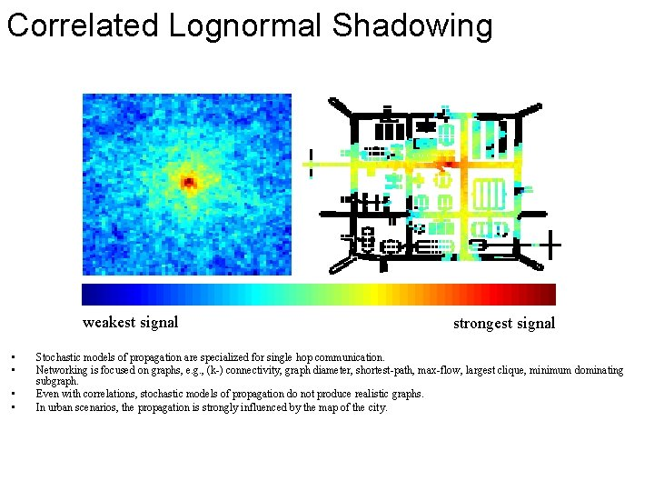 Correlated Lognormal Shadowing weakest signal • • strongest signal Stochastic models of propagation are