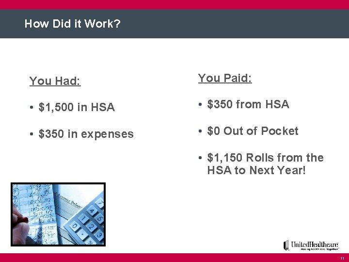 How Did it Work? You Had: You Paid: • $1, 500 in HSA •