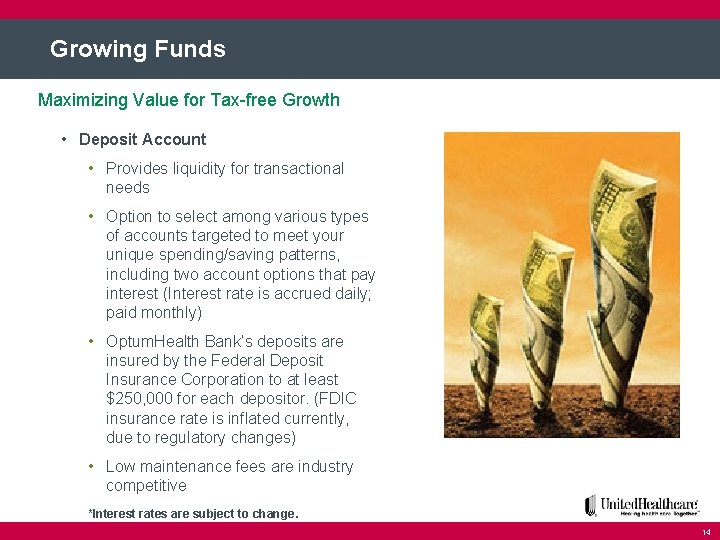 Growing Funds Maximizing Value for Tax-free Growth • Deposit Account • Provides liquidity for