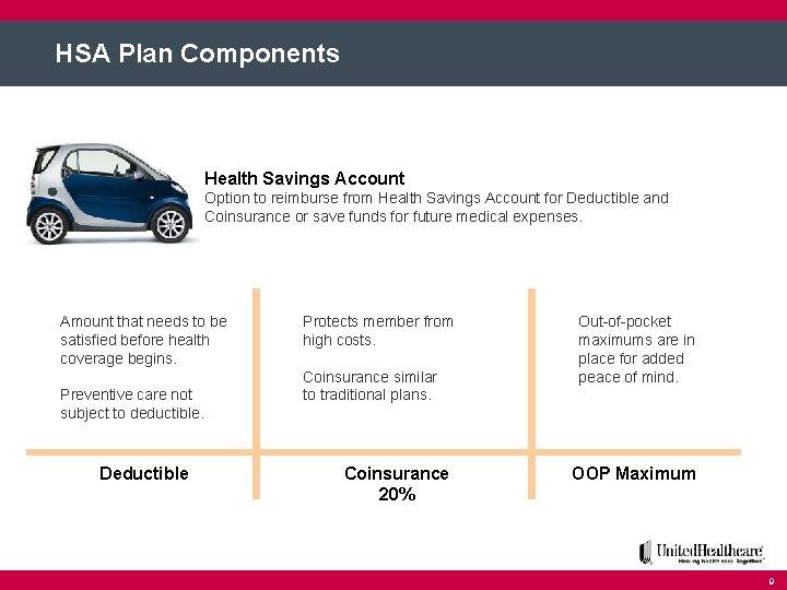 HSA Plan Components Health Savings Account Option to reimburse from Health Savings Account for
