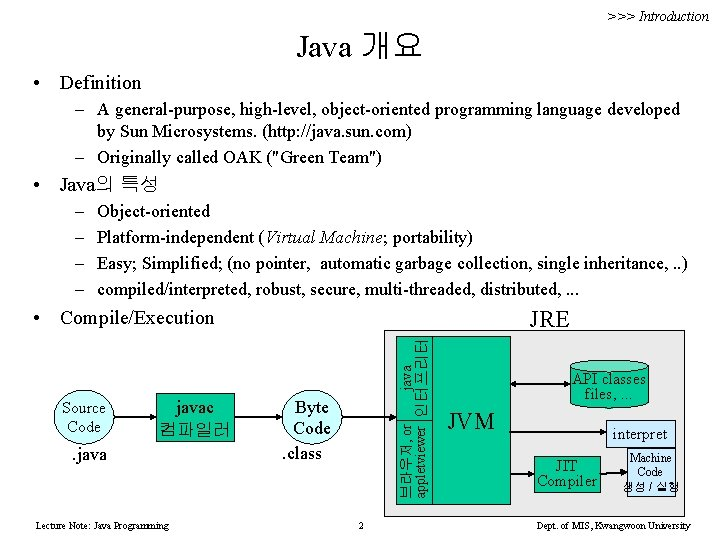 >>> Introduction Java 개요 • Definition – A general-purpose, high-level, object-oriented programming language developed