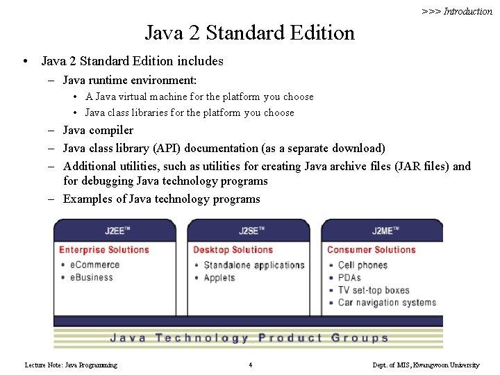 >>> Introduction Java 2 Standard Edition • Java 2 Standard Edition includes – Java