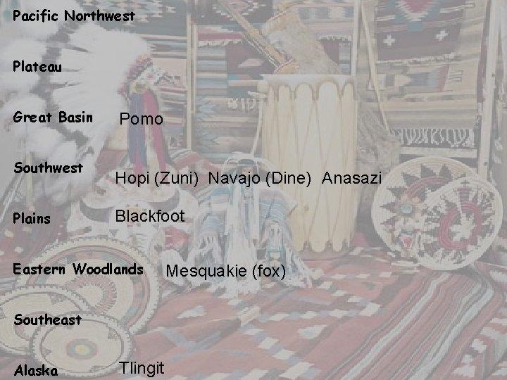 Pacific Northwest Plateau Great Basin Southwest Plains Pomo Hopi (Zuni) Navajo (Dine) Anasazi Blackfoot