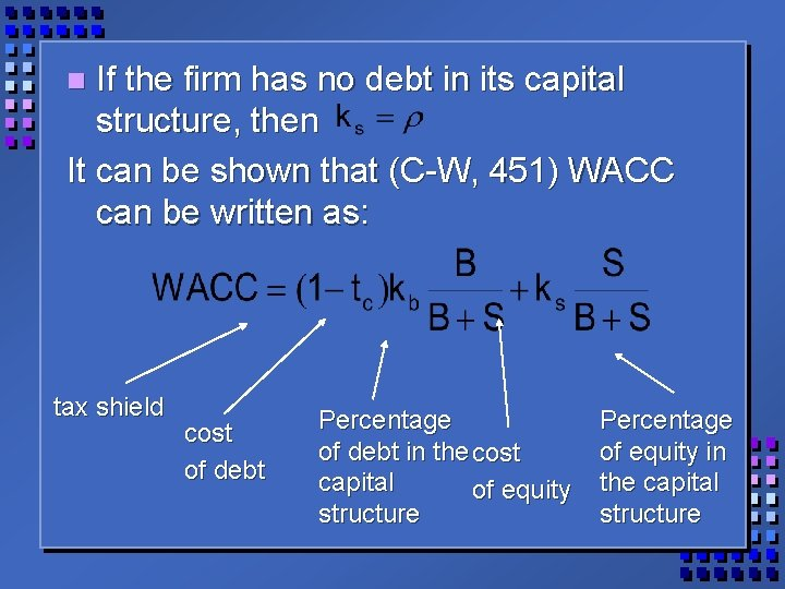 If the firm has no debt in its capital structure, then It can be