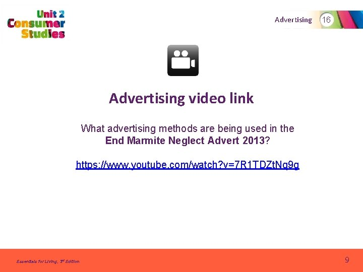 Advertising 16 Advertising video link What advertising methods are being used in the End