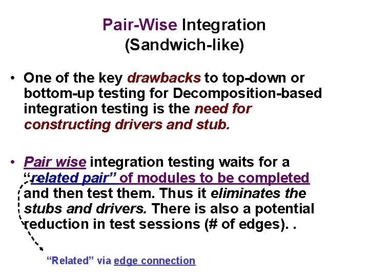 Pair-Wise Integration (Sandwich-like) • One of the key drawbacks to top-down or bottom-up testing