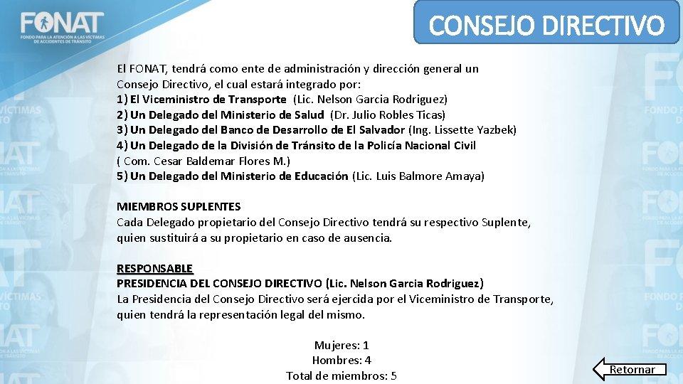 CONSEJO DIRECTIVO El FONAT, tendrá como ente de administración y dirección general un Consejo