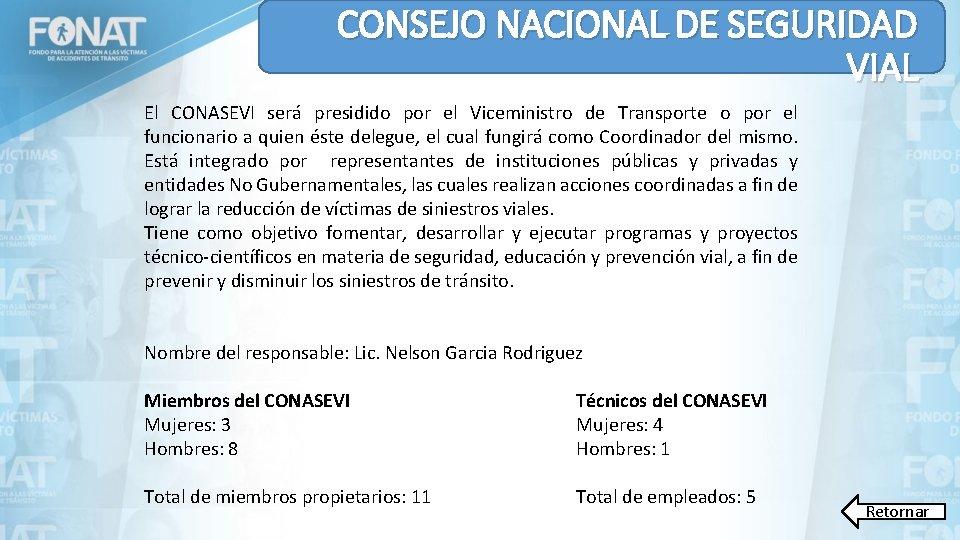CONSEJO NACIONAL DE SEGURIDAD VIAL El CONASEVI será presidido por el Viceministro de Transporte
