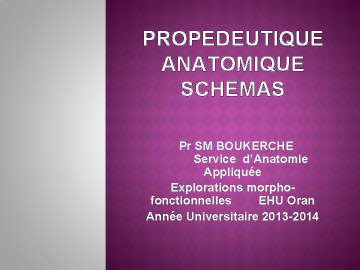 PROPEDEUTIQUE ANATOMIQUE SCHEMAS Pr SM BOUKERCHE Service d'Anatomie Appliquée Explorations morphofonctionnelles EHU Oran Année