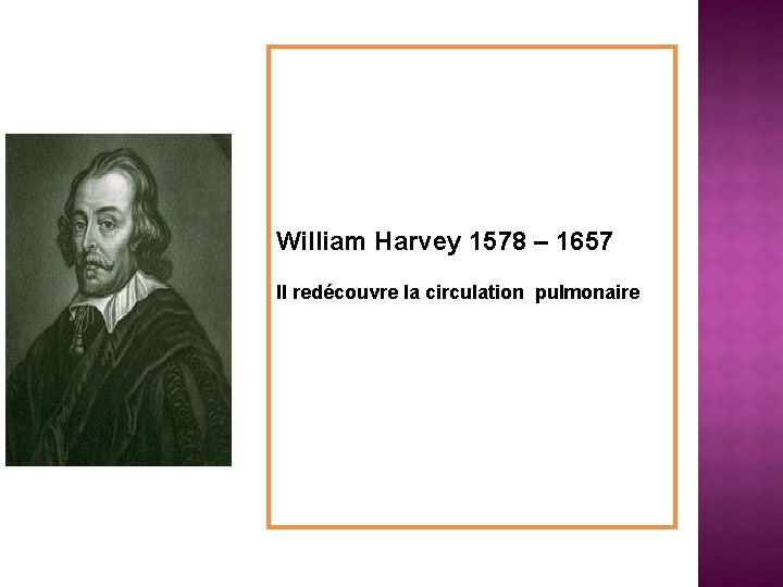 William Harvey 1578 – 1657 Il redécouvre la circulation pulmonaire