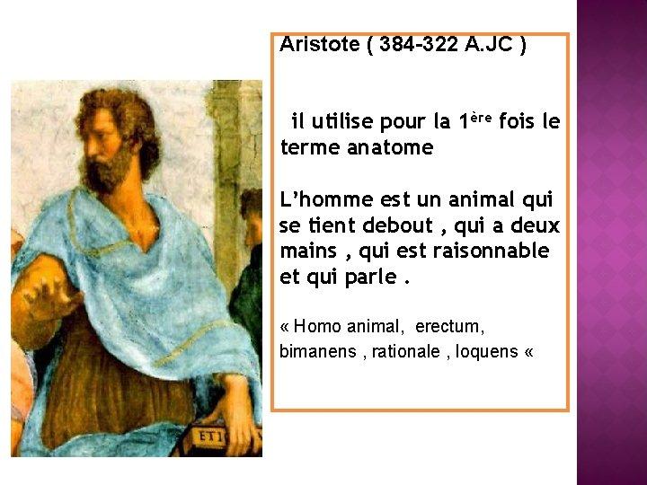 Aristote ( 384 -322 A. JC ) il utilise pour la 1ère fois le