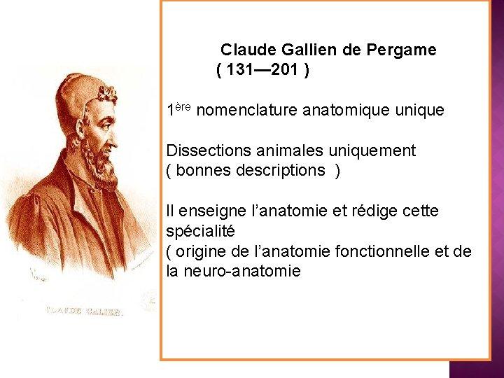 Claude Gallien de Pergame ( 131— 201 ) 1ère nomenclature anatomique unique Dissections animales