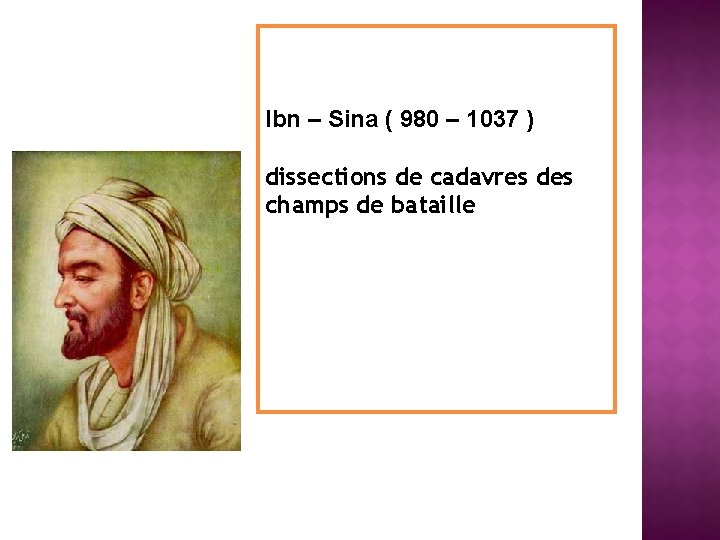 Ibn – Sina ( 980 – 1037 ) dissections de cadavres des champs de
